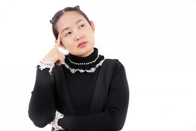 白のクローズアップの仕事のためのアイデアを考えていない肖像画アジアの美しい若い女性