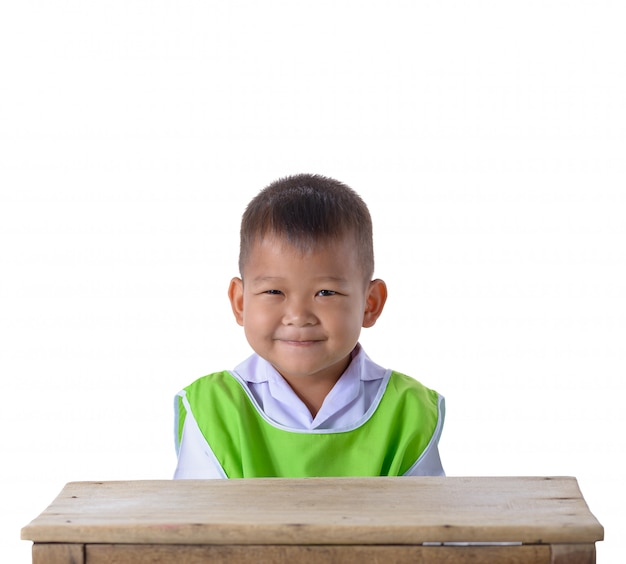 Portrait of asian boy in school uniform isolated on white background