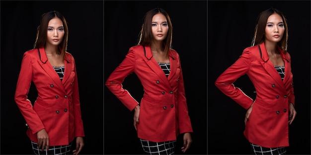 초상화 아시아 비즈니스 우먼은 레드 윈터 포멀 슈트 코치를 입고, 스튜디오 조명은 검정색 배경을 격리하고, 변호사 보스는 미소 짓는 스마트 룩, 콜라주 그룹 팩 개념을 포즈를 취합니다.