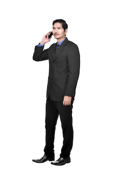 Portrait of asian businessman talking on the cellphone