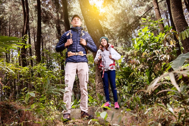 Portrait of asian couple with backpack ready to explore