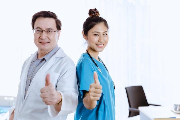Portrait asian doctor people team standing in room hospital
