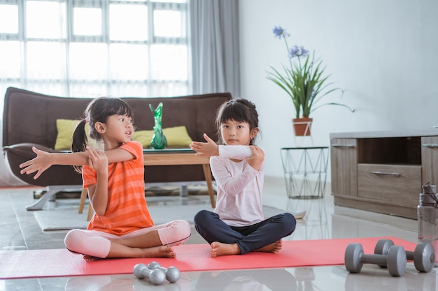Portrait of asian happy two little girl exercising at home