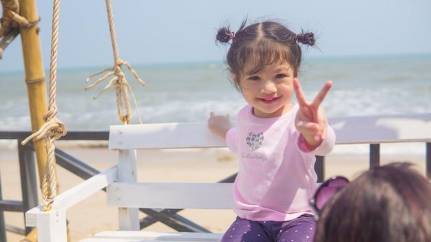 Portrait of asian little girl smiling child