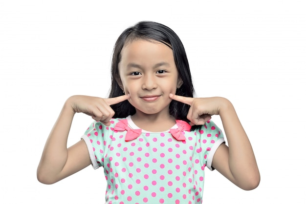 Portrait of asian little girl with fingers on cheek