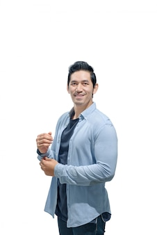 Portrait of asian man with blue shirt standing