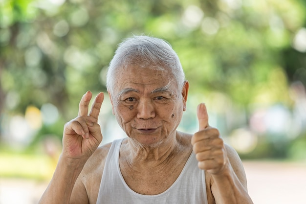 A portrait of asian retire who has alzheimer's disease