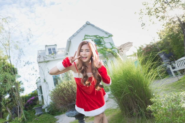 Portrait of asian santa girl