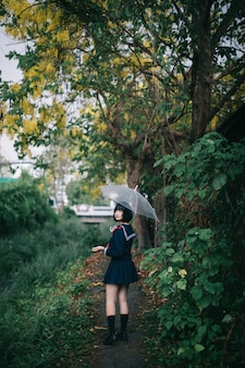 Portrait of asian school girl walking
