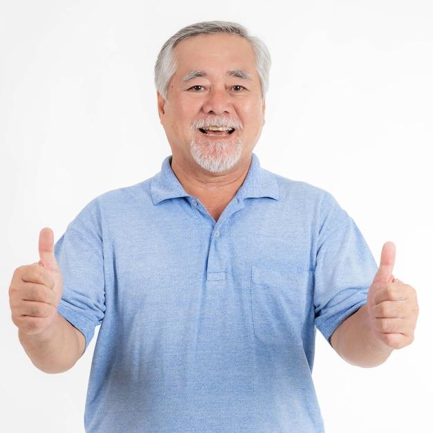 Portrait asian senior man , old man , feel happy good health isolated on white background - lifestyle senior male concept