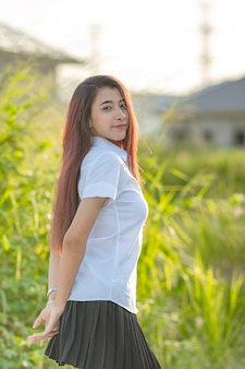 Portrait of asian student outdoors