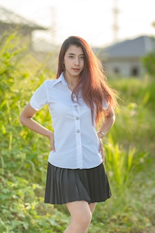 Portrait of asian student in uniform