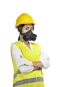 Portrait of asian woman construction worker with protective mask
