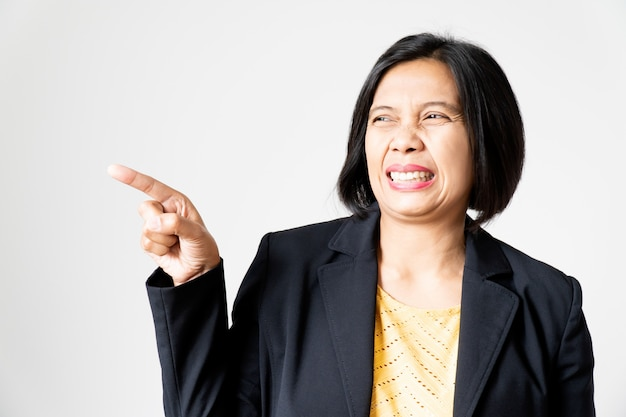Portrait of asian woman show feeling abominate on her face