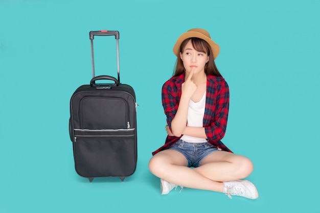 Portrait asian woman thinking idea travel.