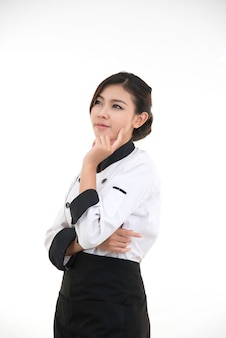 Portrait of asian young brunette chef woman