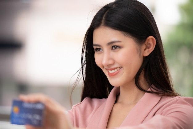 Portrait of asian young woman smiling