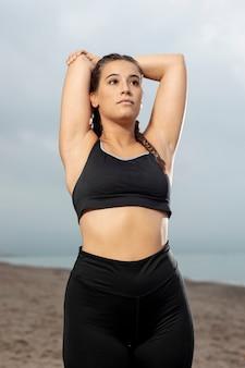 Portrait of athlete woman training