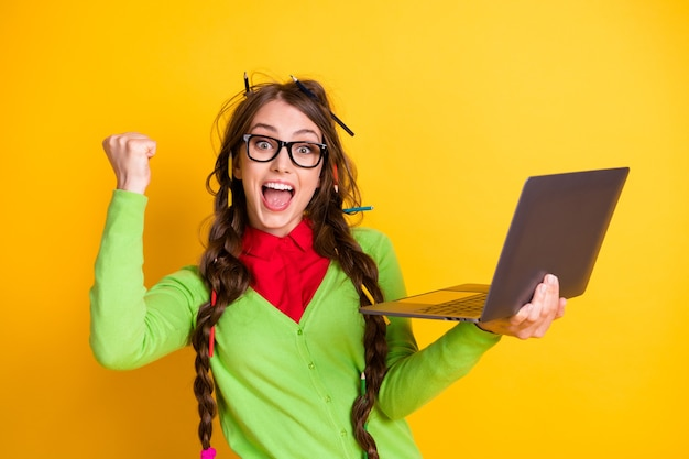 Portrait of attractive funky cheerful overjoyed girl holding in hands laptop celebrating attainment isolated bright yellow color background