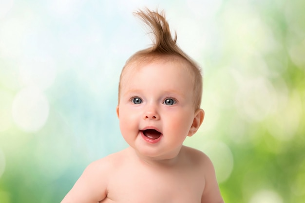 Portrait of baby on a light background