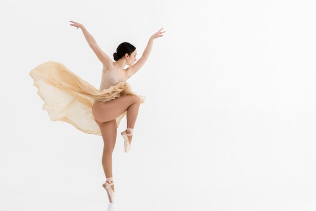 Portrait of ballerina dancing with grace