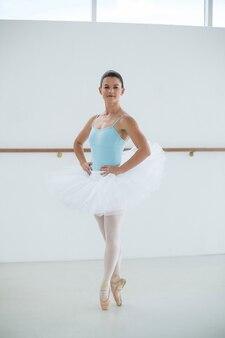 Portrait of ballerina practicing ballet dance