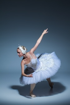 Portrait of the ballerina  in the role of a white swan on blue background