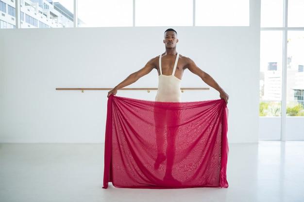 Portrait of ballerino practicing ballet dance