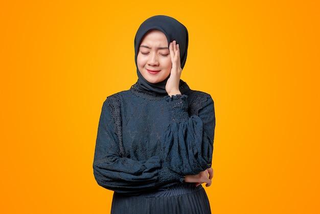 Portrait of beautiful asian woman feeling headache