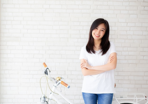 Portrait beautiful asian woman happines
