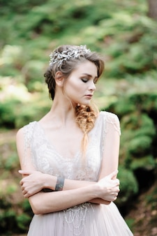Portrait of a beautiful bride. wedding ceremony in boho style
