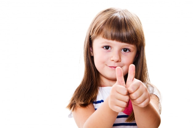 Portrait of a beautiful and confident girl showing thumbs up iso