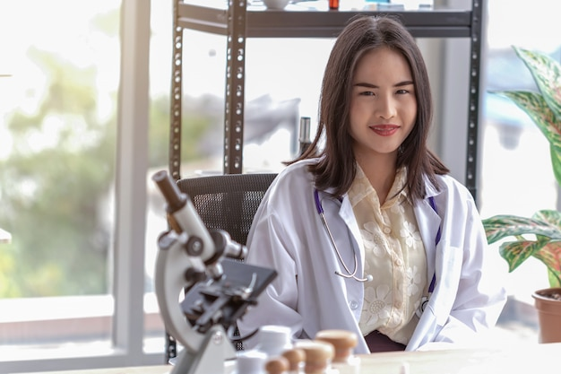Portrait of beautiful female doctor in the office