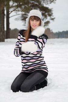 Portrait of beautiful girl in winter hat