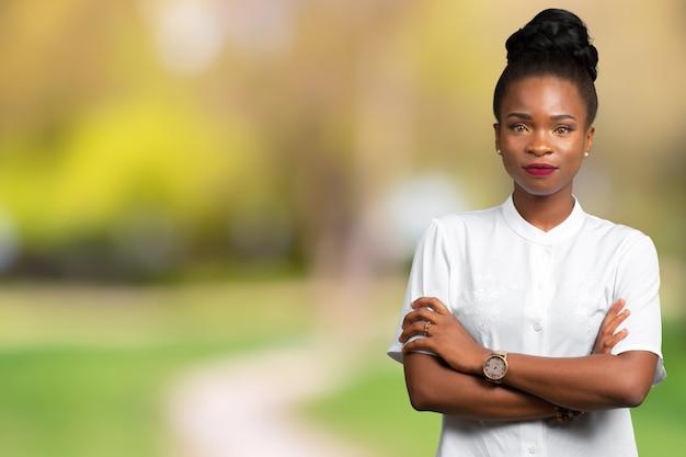 Portrait of beautiful happy black woman standing