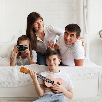 Portrait of beautiful happy family at home