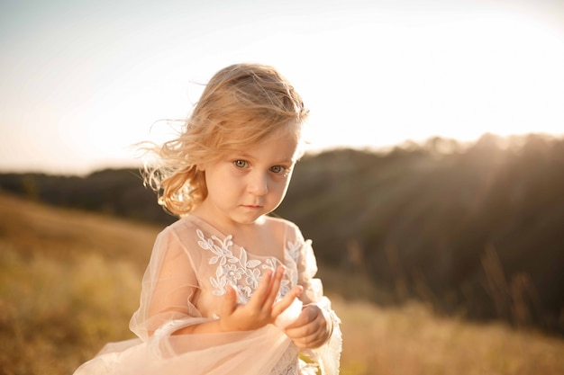 Portrait of a beautiful little princess girl in a pink dress.