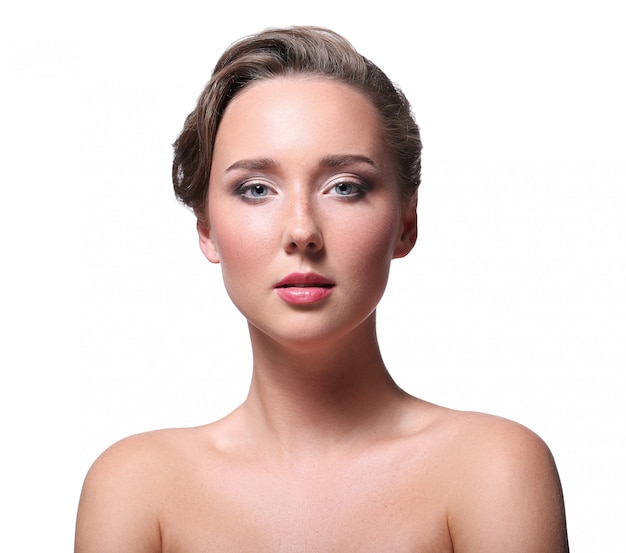 Portrait of beautiful nude woman for skin care concept
