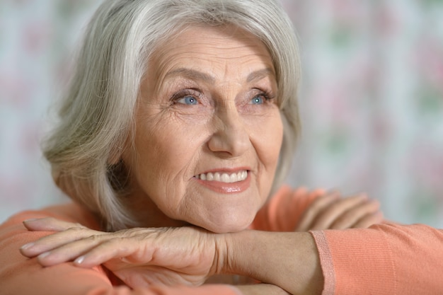 Portrait of beautiful  old woman  at home