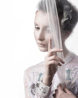 Portrait of a beautiful pensive woman . beauty and fashion