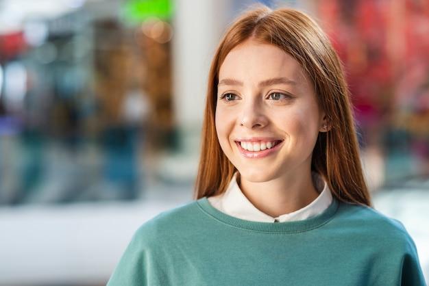 Portrait of beautiful redhead lady