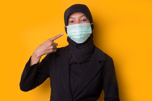 Portrait of a beautiful serious young muslim woman wearing a face mask