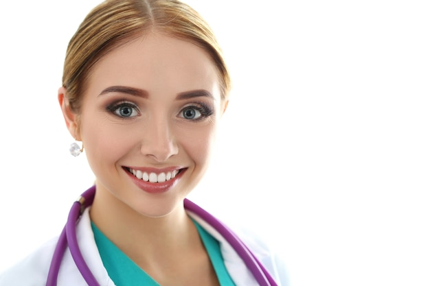 Portrait of beautiful smiling female medicine doctor. healthcare and medicine concept