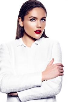 Portrait of beautiful stylish woman with red lips