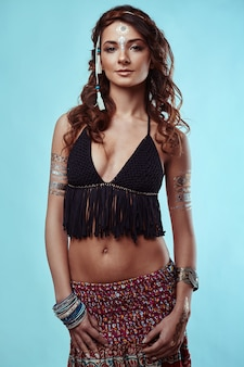 Portrait of beautiful swag young hippie woman