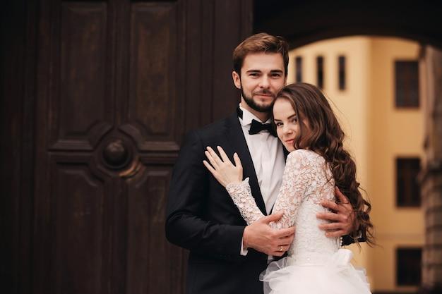 Portrait of beautiful wedding couple