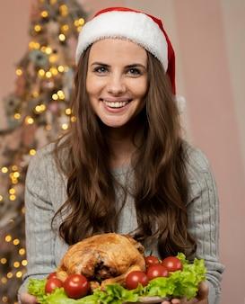 Portrait of beautiful woman on christmas