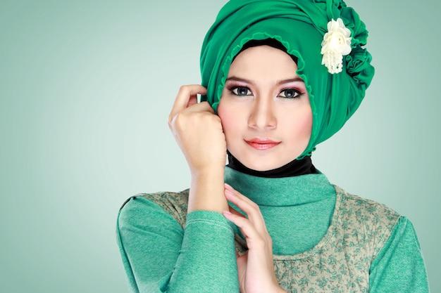 Portrait of beautiful woman wearing hijab