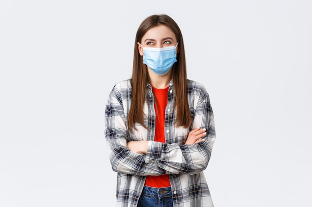 Portrait of beautiful woman with face mask