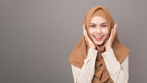 Portrait of beautiful woman with hijab is smiling